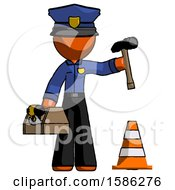 Orange Police Man Under Construction Concept Traffic Cone And Tools