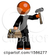 Orange Clergy Man Holding Tools And Toolchest Ready To Work