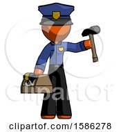 Orange Police Man Holding Tools And Toolchest Ready To Work