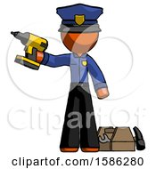 Orange Police Man Holding Drill Ready To Work Toolchest And Tools To Right