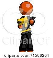 Orange Clergy Man Holding Large Drill