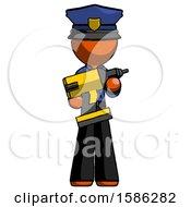 Orange Police Man Holding Large Drill
