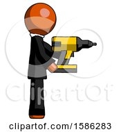 Orange Clergy Man Using Drill Drilling Something On Right Side