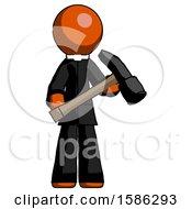 Orange Clergy Man Holding Hammer Ready To Work