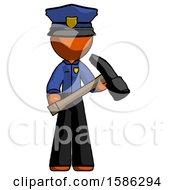 Orange Police Man Holding Hammer Ready To Work