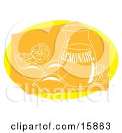 Pitcher Of Lemonade With Lemons Around It Clipart Illustration