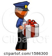 Orange Police Man Giving A Present