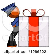 Orange Police Man Gift Concept Leaning Against Large Present