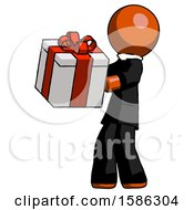 Orange Clergy Man Presenting A Present With Large Red Bow On It
