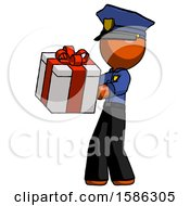 Orange Police Man Presenting A Present With Large Red Bow On It