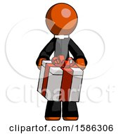Orange Clergy Man Gifting Present With Large Bow Front View