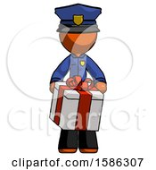 Orange Police Man Gifting Present With Large Bow Front View