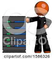 Orange Clergy Man With Server Rack Leaning Confidently Against It