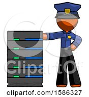 Orange Police Man With Server Rack Leaning Confidently Against It