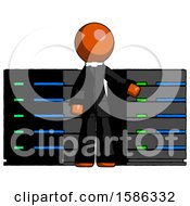 Orange Clergy Man With Server Racks In Front Of Two Networked Systems