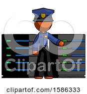 Orange Police Man With Server Racks In Front Of Two Networked Systems