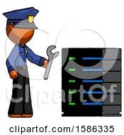 Orange Police Man Server Administrator Doing Repairs