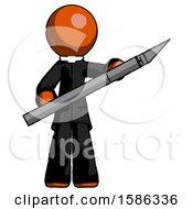 Orange Clergy Man Holding Large Scalpel