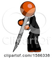 Orange Clergy Man Cutting With Large Scalpel