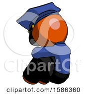 Orange Police Man Sitting With Head Down Back View Facing Left