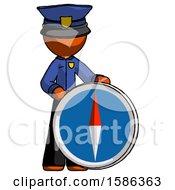Orange Police Man Standing Beside Large Compass