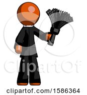 Orange Clergy Man Holding Feather Duster Facing Forward