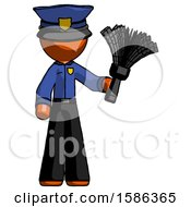Orange Police Man Holding Feather Duster Facing Forward
