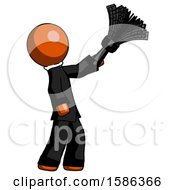 Orange Clergy Man Dusting With Feather Duster Upwards
