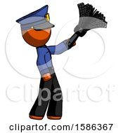 Orange Police Man Dusting With Feather Duster Upwards