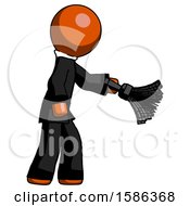 Orange Clergy Man Dusting With Feather Duster Downwards