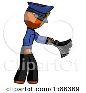 Orange Police Man Dusting With Feather Duster Downwards
