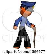 Orange Police Man Walking With Hiking Stick