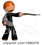 Orange Clergy Man Pointing With Hiking Stick