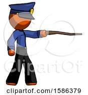 Orange Police Man Pointing With Hiking Stick