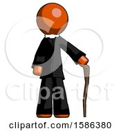 Orange Clergy Man Standing With Hiking Stick