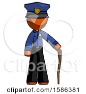 Orange Police Man Standing With Hiking Stick