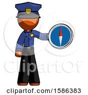 Orange Police Man Holding A Large Compass