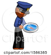 Orange Police Man Looking At Large Compass Facing Right