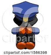 Orange Police Man Sitting With Head Down Facing Forward