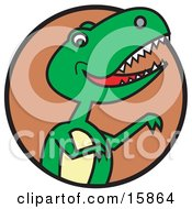 Green T Rex Dinosaur Baring Its Teeth Clipart Illustration