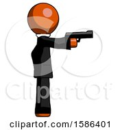 Orange Clergy Man Firing A Handgun
