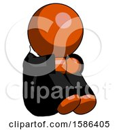 Orange Clergy Man Sitting With Head Down Facing Angle Right