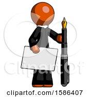 Orange Clergy Man Holding Large Envelope And Calligraphy Pen