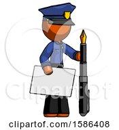 Orange Police Man Holding Large Envelope And Calligraphy Pen