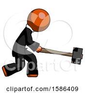Orange Clergy Man Hitting With Sledgehammer Or Smashing Something
