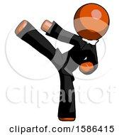 Orange Clergy Man Ninja Kick Left