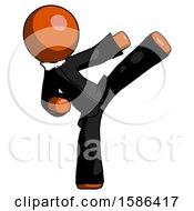 Orange Clergy Man Ninja Kick Right