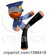 Orange Police Man Ninja Kick Right