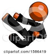 Orange Clergy Man Flying Ninja Kick Left