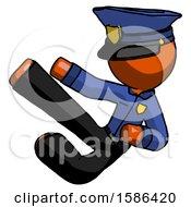 Orange Police Man Flying Ninja Kick Left